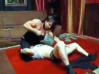 Really Muscular Girl Wrestling With Him