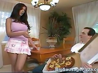 Big sausage pizza  shy love brunette pink skirt trimmed