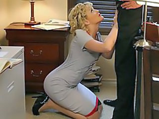 Blonde Blowjob Clothed Pornstar