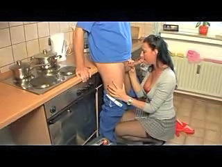 Blowjob Brunette Clothed German Kitchen Stockings Wife