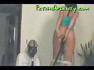 Cute brunette farts into a mask