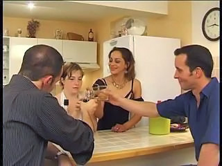 Amateur French Groupsex Kitchen Swingers