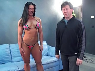 Amazing Bikini Brunette Muscled