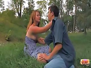 Blonde getting fucked outdoor and loving it