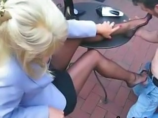 Blonde Clothed Feet Legs Outdoor Stockings