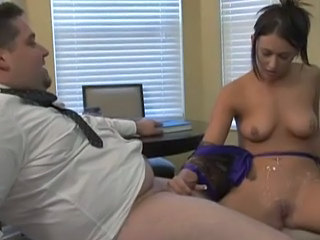 Brunette Clothed Handjob Office Small cock