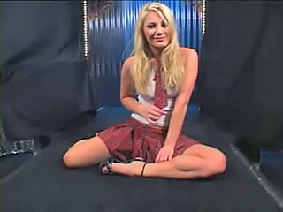 Blonde European Pov Skirt Uniform