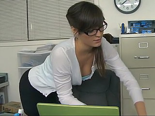 Amazing Brunette Glasses Office