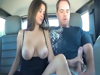 Amazing Big Tits Brunette Bus Handjob MILF