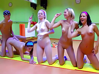 4 hot teen girls do aerobics together and suck cock. Little Caprice movie.