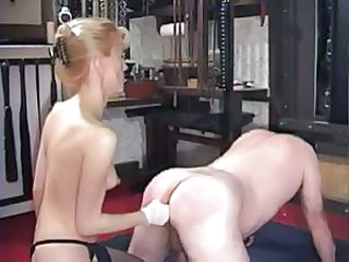 Dominant mistress fists his asshole