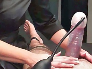 Handjob, penis pump and handjob until he cums
