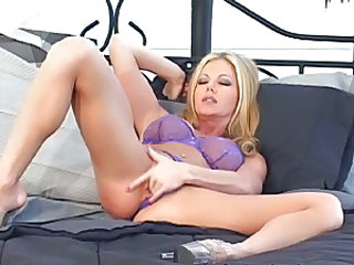 Dirty girl Amber Michaels rubs her tight slippery little snatch