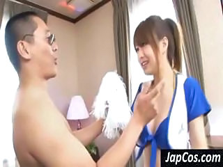 Japanese girl gets bent over and pounded by horny dude's cock