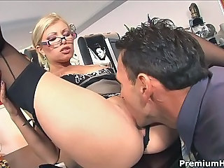 Boss bangs leggy blonde secretary Donna Bell