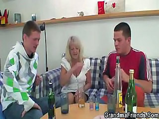Drunk Granny Partying With Boys