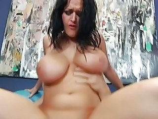 Pale tattooed milf with huge knockers gets her ass pounded