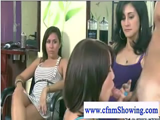 Cfnm milfs at blowcock hairstudio playing with cock