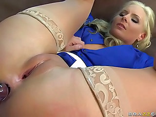 Big racked blonde teacher Phoenix Marie in sheer nylons does it with her student James Deen. Smooth pussy blonde Phoenix Marie lifts her legs up to get her asshole toyed and licked before taking a dick.