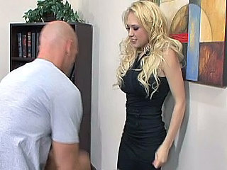 Blonde secretary gets her clothes off and fucking