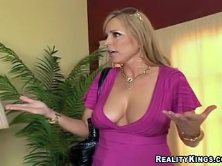 Lusty milf Nicole Moore takes pointers on sucking cock from friend