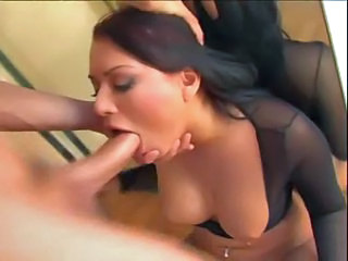 Eva Angelina sucks and gags on a huge cock