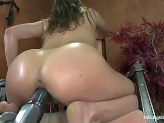 Barely legal Ashlynn Leigh goes crazy about sex with fucking machines and can't get enough. She vibrates her snatch and then takes robotic dildo deep in her soaking wet hole.