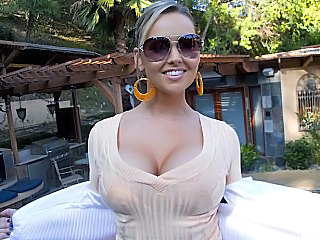 Amazing Babe Big Tits Glasses Outdoor