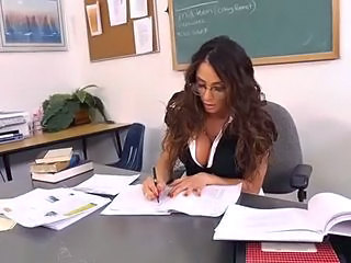 "Gorgeous brunette MILF teacher relaxes with her student"" target=""_blank"