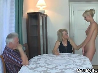 His GF and parents in hot threesome