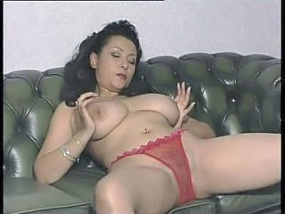 Big Breasted Mom Stripping & Fingering Twat