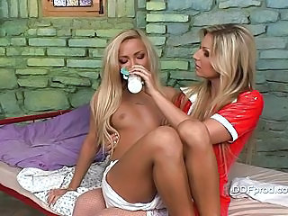 Baby Nicky Angel gets milk from her hot baby sitter