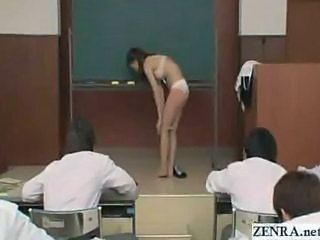 Japanese students pay no attention to their cute teacher until she reluncantly strips naked and continues the lesson in the buff while they watch on in awe