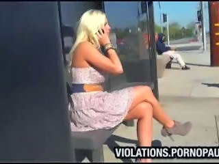 Guy spunks on shocked blonds tits at public bus stop