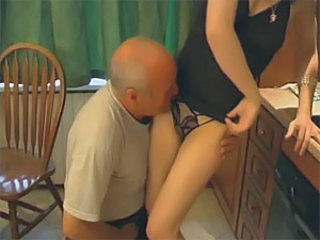 Beautiful brunette babe gets fucked by old fart
