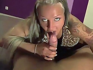 Tattooed amateur POV blow and fuck