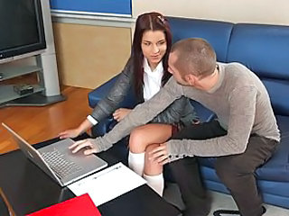 Angel Rivas was doing her homework on her laptop, but she had some problems. Oliver Strelly sat down next to her give her some help, but when Angel went out for a moment he found a dildo in her folder