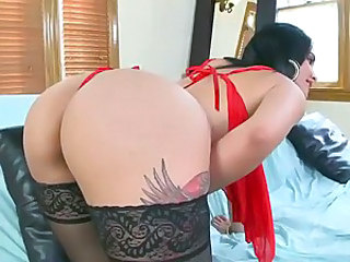 Raven haired Carmela Ray strips off her sexy lingerie after showing off her amazing latin ass. This hot hispanic babe with tattoos gets her anal hole drilled doggy style.