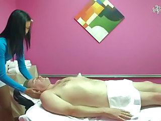 Skinny brunette girls Rosemary gives full body massage to handsome guy. She's a shy girl but puts her petite hands on his dick anyhow to give a cock massage. Then Rosemary strips down to her tiny pant