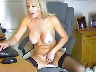 In front of her webcam