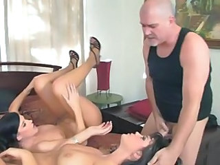 Alison Tyler and India Summers nailed by a bald guy