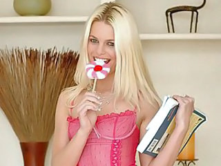 How sweet! Jessica licks on a pink and white lollypop that matches her pink lingerie and white teeth. But what do you think? Would a black cock look good between her white teeth? We think it does! And that cock looks good in her tiny asshole, too. It's a