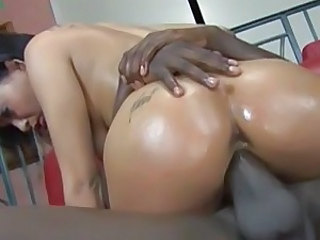 Sexy whore Aliana Love rides her juicy moist snatch on a massive black meat pole