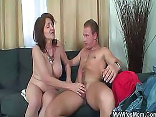 Old bag enjoys her son in law cock until wife comes home