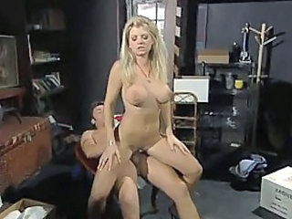 Blonde fucked in a storage room