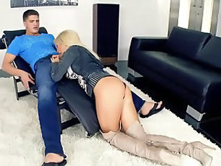 Lovely young blonde Tasha Reign in thigh high boots gives blowjob to guy in tight jeans. Then this sexy assed blonde bares all and gets her hole stuffed from behind with her face down.