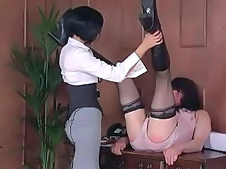 Femdom Office Strapon Punishment in Stockings