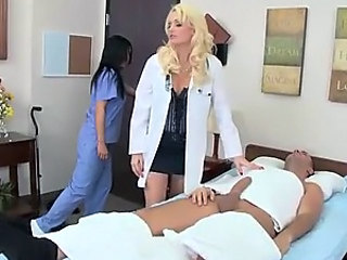 Blonde Doctor Wearing Stockings Deep Throats A Patient