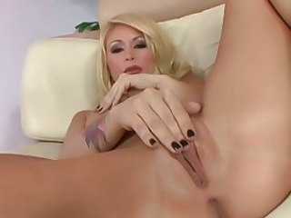 Monique Alexander slides her pleasure toy making her moan like a hot whore