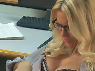 Four-eyed office blonde Jessica Drake in blouse and skirt has fun with handsome co-worker. He licks her pussy and gets his cock sucked before Jessica Drake takes it up her dripping wet hole.